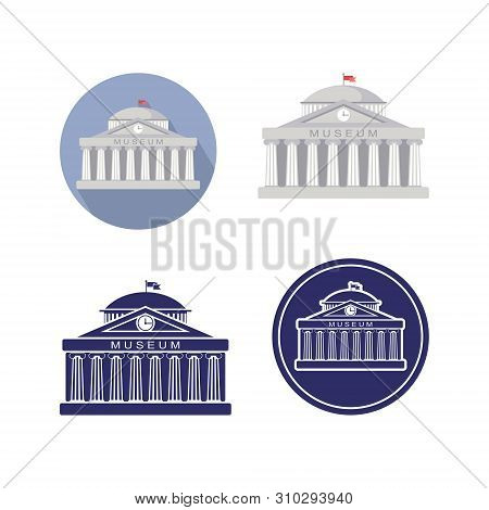 Set Of Museum Building Sign. Classical Greece Roman Architecture With Ionic Columns, Clock, Spire An