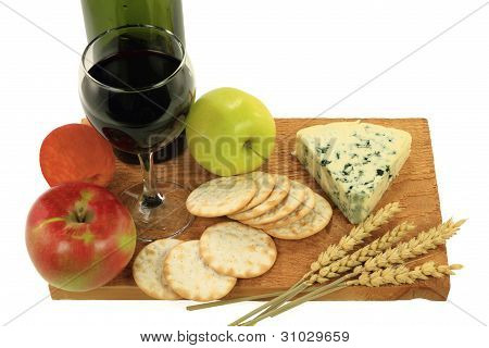 Blue Cheese, Wine And Snacks.