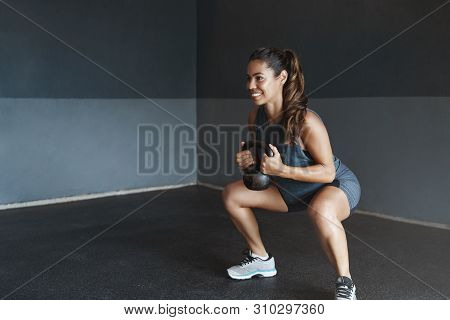 Girl Prepare Body Good Shape, Lead Active Lifestyle, Determined Gain Strong Muscles, Sportswoman Per