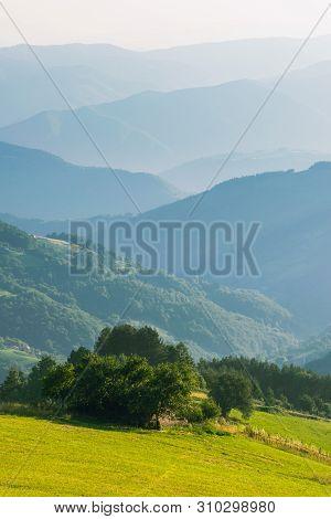 Mountain Range Nature Landscape. Mountain Layers Landscape. Summer In Mountain Forest Landscape. For