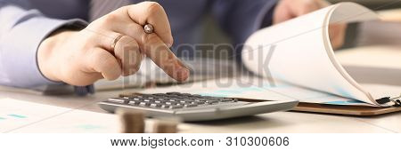 Businessman Calculate Funds Tax Report Concept. Accountant Married Man Counting Financial Data Using