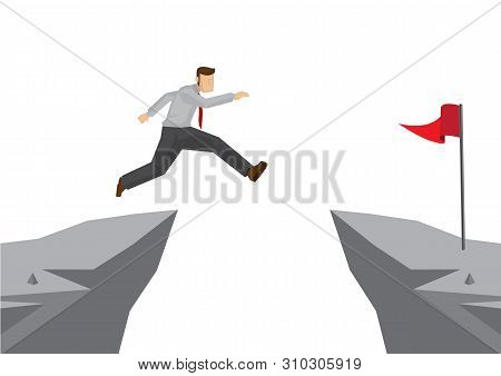 Fearless Brave Businessman Jumping Over A Cliff To Reach His Target. Concept Of Overcoming Challenge