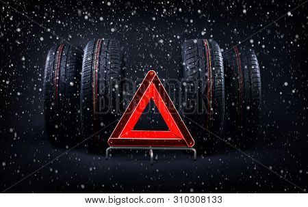 Change Tires For Winter Advice With Summer Tires, Snow And Red Emergency Stop Sign. Time To Switch Y