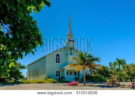 Little Cayman, Cayman Islands, Nov 2018, Baptist Church Between The Caribbean Sea And Guy Banks Road