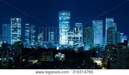 Tel Aviv Panorama At Night,  Tel Aviv Skyline at Night,  Israel