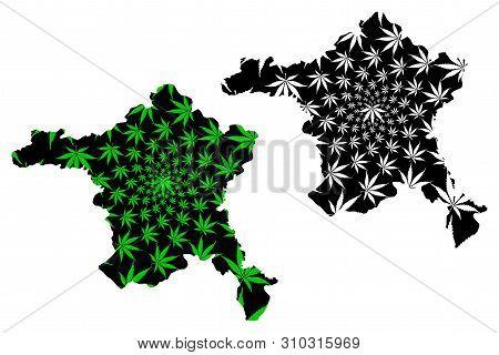 Ankara (provinces Of The Republic Of Turkey) Map Is Designed Cannabis Leaf Green And Black, Ankara I