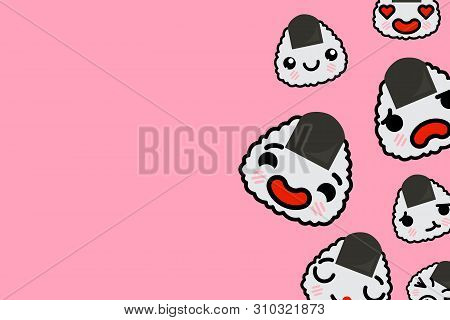 Banner Template With Place For Text - Funny Emoji Onigiri Vector Illustration
