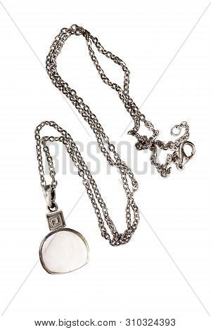 Vintage White Nacre Pendant On A Chain On White Background