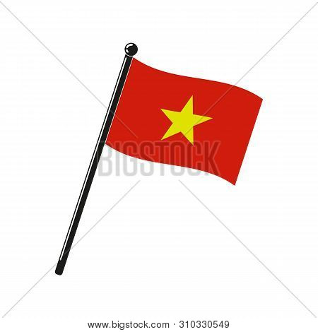 National Flag Of Socialist Republic Of Vietnam In The Original Colours And On The Stick