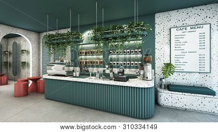 Cafe Shop Design Modern & Minimal Green Counter Top Granite Stone,metal Light Pendant,green Curved P