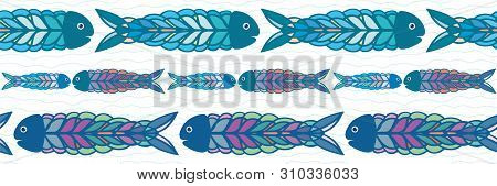 Hand Drawn Rows Of Multicolor Fish In Folk Art Style Border Design. Seamless Vector Pattern On White