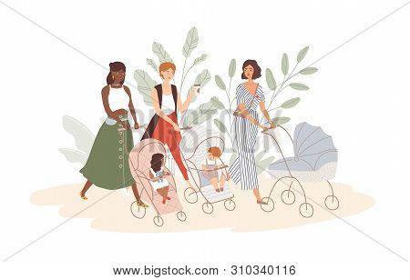 Group Of Cute Women With Babies In Prams And Strollers. Moms Walking With Their Infant Children. Com