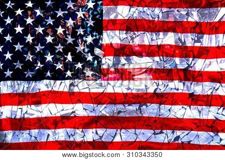 Broken Mirrors Against The Background Of The American Flag. The Concept Of Crisis