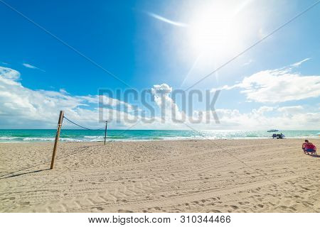 Beach Volley Net In Fort Lauderdale Shore On A Sunny Day. Florida, Usa