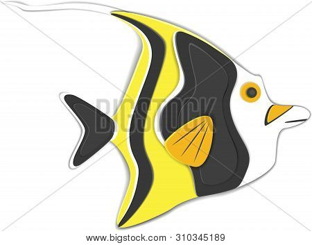 poster of Reef fish in paper art style. Colorful exotic aquarium fauna vector illustration. Marine ecosystem, ocean underwater wildlife. Caribbean aquatic coral fauna isolated on white background