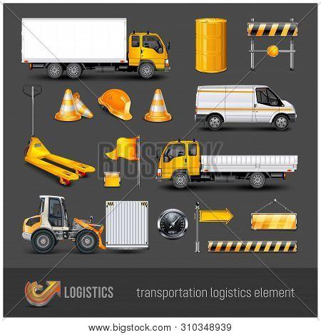 Transportation Elements, Transport And Roadwork Signs. Vector Illustration.