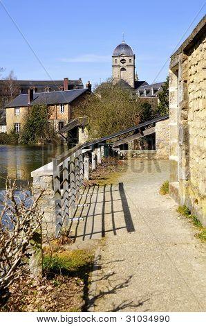Sarthe river bank at Alençon in France