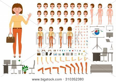 Brown Hair Office Worker Cartoon Character Body Parts Creation Set. Waving Young Woman In Orange Pan