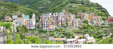 Panoramic Landscape Of Manarola Village One Of The Five Traditional Villages Of Cinque Terre La Spez