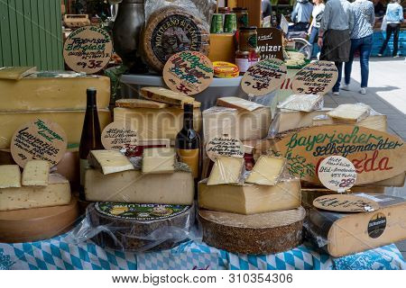 Munich, Bavaria, Germany - May 29, 2019. Stand  At Victuals Market Selling All Kinds Of Cheese