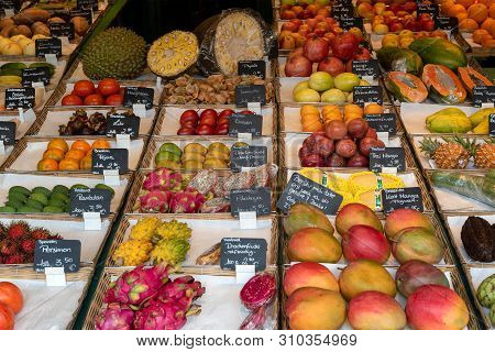 Munich, Bavaria, Germany - May 29, 2019. Tropical Fruits Are Regularly Available At The Victuals Mar