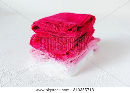 Pink And White Textile On White Background