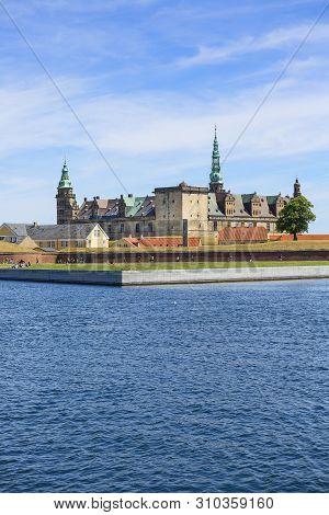 Helsingor, Denmark - July 23, 2019: Medieval Kronborg Castle On The Oresund Strait, Baltic Sea, View