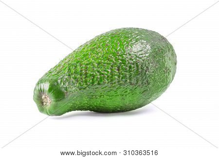 Isolated Organic Avocado On White Background With Clipping Mask