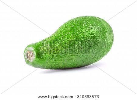 Whole Avocado Fruit In A Row Isolated On White Background With Clipping Path