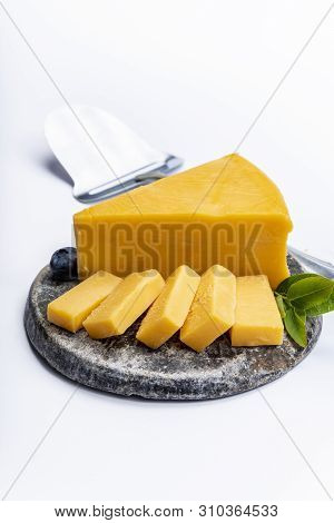 Cheddar Cheese Collection, Piece Of Yellow Cheddar Cheese Made From Cow Milk