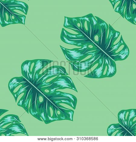 Palm Monstera Seamless Pattern. Blue Black Tropical Summer Background. Beach Jungle Leaves For Swimw