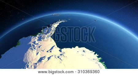 Highly Detailed Planet Earth. Exaggerated Precise Relief Lit Morning Sun. Antarctica. Antarctic Peni