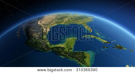 Highly Detailed Planet Earth. Exaggerated Precise Relief Lit Morning Sun. South America. North Ameri