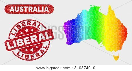 Spectral Dotted Australia Map And Seal Stamps. Red Round Liberal Textured Seal Stamp. Gradient Spect