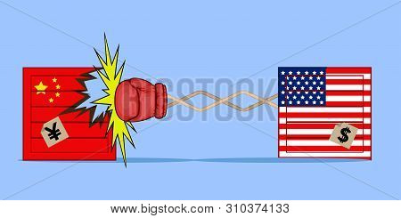 Delivery Box Of Usa Hitting A Delivery Box Of China - Vector