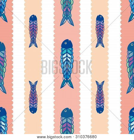 Hand Drawn Multicolor Fish In Geometric Folk Art Style. Seamless Vector Pattern On White Background