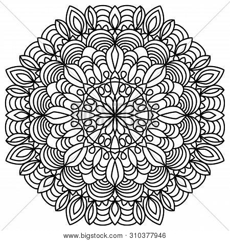 Coloring Book Page. Circular Pattern In The Shape Of Of Mandala With Lotus Flower. Henna, Mehndi, Ta