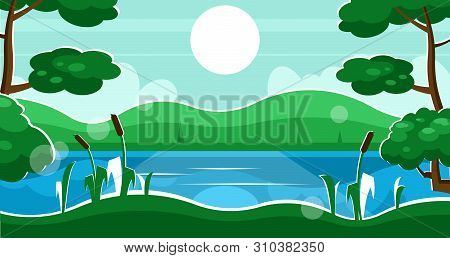 Summer Rural Landscape With River, Trees And Reeds