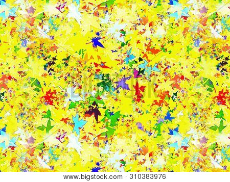 Autumn Multicolored Leafs Collage As Abstract Wallpaper. Comic Background.
