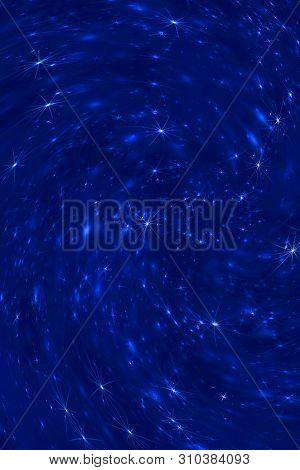 Deep Blue Space Stars Constellation Defocused Twirl Pattern Background. Abstract Blurred Wallpaper.