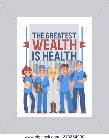 Health Care Cover Vector Design. Medical Brochure With Healthcare Slogan. Doctors Cartoon Characters
