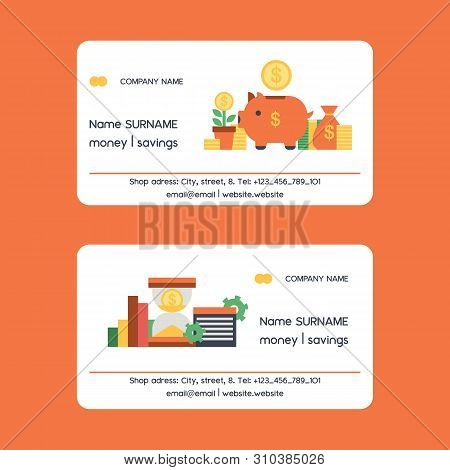 Money Vector Piggy Bank Business Card Pig Box Financial Bank Or Money-box With Investment Savings An