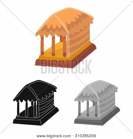 Isolated Object Of Hut And House Symbol. Collection Of Hut And Gazebo Stock Vector Illustration.