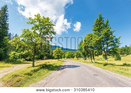 Old Road Through Forest In Mountains. Beautiful Summer Landscape On A Sunny Day. Cloud Above The Dis