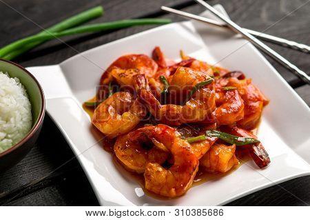 Asian Style Ketchup Shrimp Closeup View.