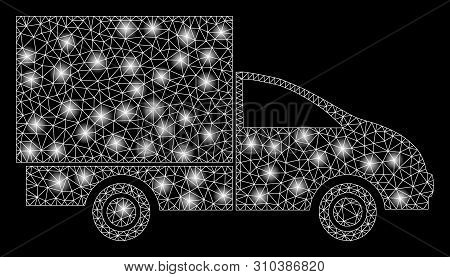 Glossy Mesh Lorry With Glitter Effect. Abstract Illuminated Model Of Lorry Icon. Shiny Wire Carcass