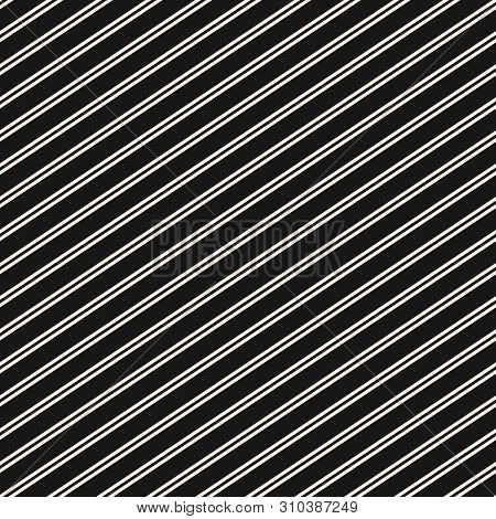 Diagonal Stripes Seamless Pattern. Simple Black And White Slanted Lines Texture. Modern Vector Abstr