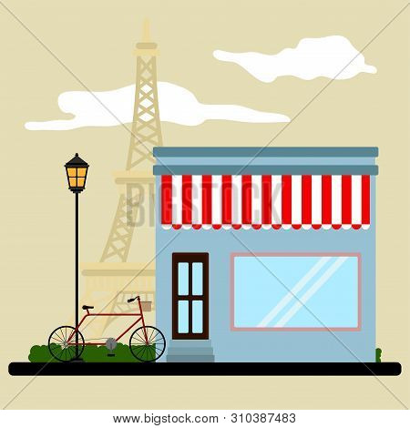 Colored French Landscape With A Store And The Eiffel Tower - Vector