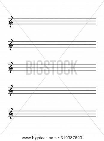 Empty Sheet Of Notes Template For Beginners. Five-line Staff With Treble Clef For Learning The Weste
