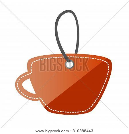 Brown Shining Cup Shape Blank Tag, Isolated On White Background.